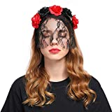 Women Sexy Lace Veil Retro Rose Flowers Headband for Birthday Party Halloween Cosplay Costume Party Head Band Black