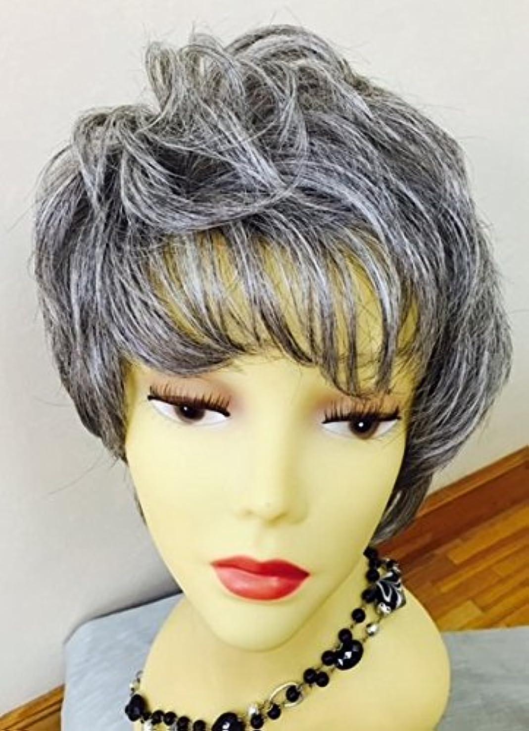 スクラップブックアジャ成功自社オリジナル フルウイッグ 黒髪白髪混合 人毛30%化繊70% 医療用かつら