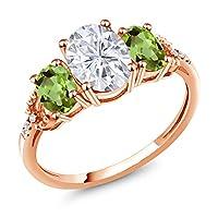 Gem Stone King 2.54カラット Forever Brilliant モアッサナイト Charles & Colvard 天然石ペリドット 天然ダイヤモンド 10金 ローズゴールド(K10) 天然ダイヤモンド 指輪 リング