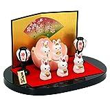 錦彩うさぎ桜雛(平飾り) 陶器 雛人形 ひな人形 水琴鈴特典付オリジナル雛人形 雛 ミニ 雛飾り 初節句 雛まつり