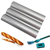 Baguette Pan - French Bread Baking Mold with Bread Lame - Wave Perforated 3-Slot Non Stick Baking Tray for Oven Bread Silver