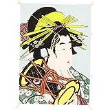 インテリア 手描き【和凧】角凧 縦47×横33cm【福-121ロ】浮世絵 花魁