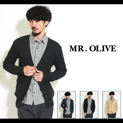 【MROLIVE(ミスターオリーブ)】SILK 100% NEP CABLE KNIT/FOUR PATCH CARDIGAN カーディガン