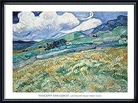 ポスター フィンセント ファン ゴッホ Landscape from Saint-Remy 1889 額装品 ウッドハイグレードフレーム(ネイビー)