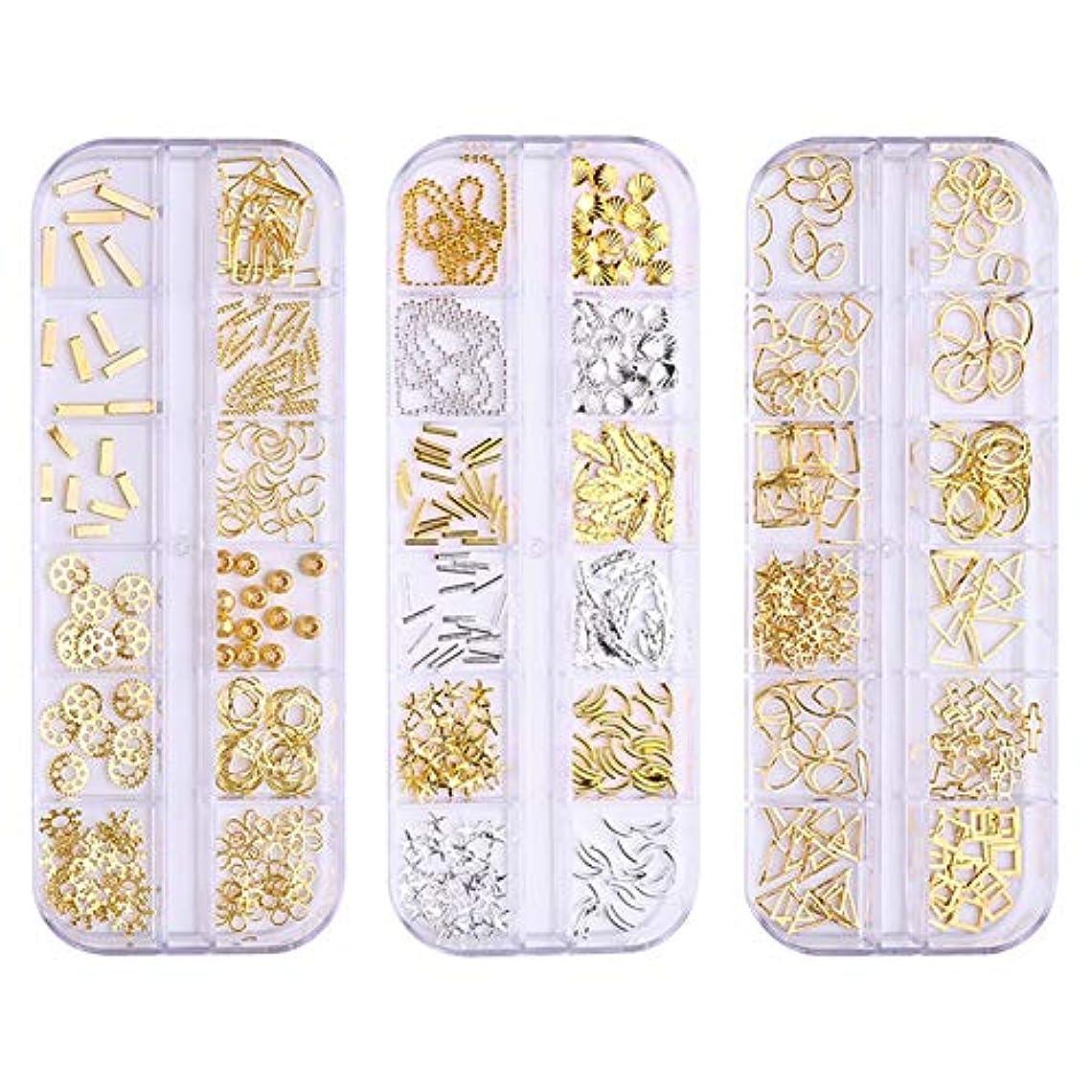 BORN PRETTY ネイルデコパーツ3ボックスセット ネイル フレームパーツ 12個口ケース入り 形いろいろミックス ヘアアクセ デコパーツ ミックス 手芸 ハンドメイド アクセサリー製作