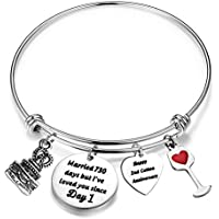 FEELMEM for Her Adjustable Wedding Anniversary Bracelet Bangle with Anniversary Cake Charm,1st 2nd 5th 10th 25th 30th Bangle Gift