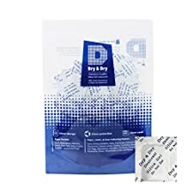 Dry & Dry 1 Gram [200 Packets] Premium Silica Gel Pure and Safe Silica Gel Packs Desiccant Dehumidifier Desiccant Packs - Food Safe Paper Silica Packets for Moisture Absorber Silica Gel Packets