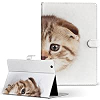 igcase d-01J dtab Compact Huawei ファーウェイ タブレット 手帳型 タブレットケース タブレットカバー カバー レザー ケース 手帳タイプ フリップ ダイアリー 二つ折り 直接貼り付けタイプ 013568 猫 写真 子猫