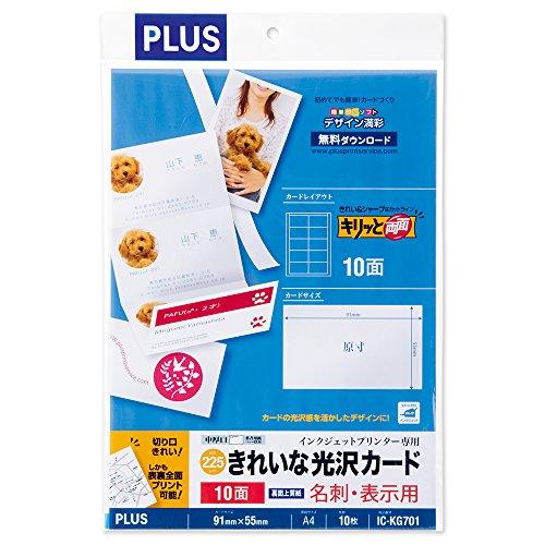 プラス プラス 名刺用紙 きれいな光沢カード キリッと両面 A410面10枚 46-673 IC-KG701