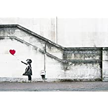 Wieco Art - Banksy Grafitti Girl with Red Balloon Modern Stretched and Framed Giclee Canvas Prints Artwork Grey Love Pictures Paintings on Canvas Wall Art for Living Room Bedroom Home Decorations