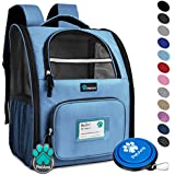 PetAmi Deluxe Pet Carrier Backpack for Small Cats and Dogs, Puppies | Ventilated Design, Two-Sided Entry, Safety Features and Cushion Back Support | for Travel, Hiking, Outdoor Use (Light Blue)