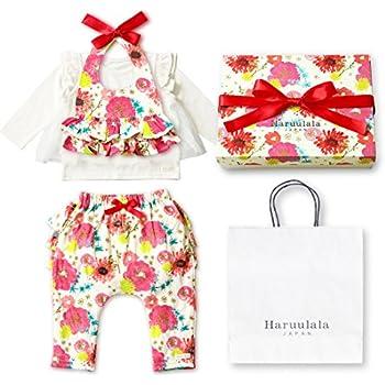 b8d5d23f5dddd Haruulala Japan(ハルウララ) 出産祝い 女の子 オーガニックベビー服3点セット (スタイトップス パンツ) (長袖_紙袋付き