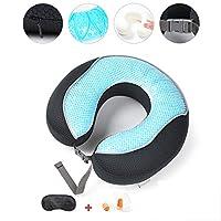 トラベルピロー、結露防止保護頸椎低反発枕、アイマスク付き耳栓付き,Black