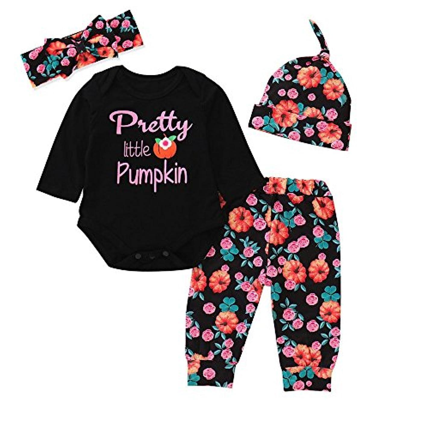 日の出瞑想お肉BHKK 子供 幼児少年少女ハロウィンパンプキンレターロンパートップス+パンツ+ヘッドバンド+キャップ 6ヶ月 - 24ヶ月 12ヶ月