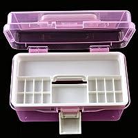 プラスチックハンドル2層ストレージボックスマニキュアキットケースハードウェアツールボックスオーガナイザーおもちゃデスクトップジュエリーアクセサリー引き出しクラフトストレージボックスオーガナイザー free size ピンク 15323473547291