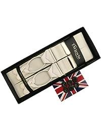 (ティエムルーイン)TMLewin サスペンダー メンズ 紳士 ボタン止め 英国製 アルバートサーストン社 Y型 Yバック バラシャブレイス White ホワイト 白 B082