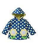 HYSENM 子供 レインコート かわいい 防風 ウインドブレーカー 防水 帽子付き 水玉 通園 通学 外出用 雨具 90-130cm五つのサイズ有り 春 秋 冬 女の子 男の子 ブルー 90cm