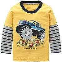 Boys Cotton Long Sleeve T-Shirts Monster Truck Cartoon Print Tops Tees