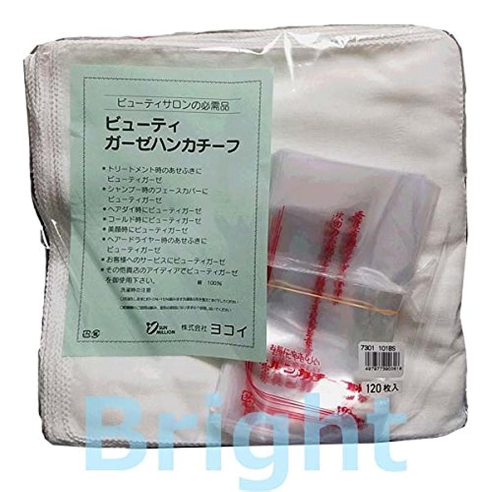 足音トライアスロンウイルス101BS ガーゼハンカチ 10ダース (ヨコイ ビューティガーゼハンカチーフ 120枚入り) (縫い糸の色:白)