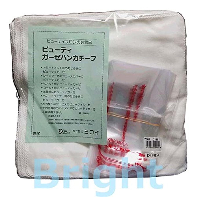 ミニ多数の褐色101BS ガーゼハンカチ 10ダース (ヨコイ ビューティガーゼハンカチーフ 120枚入り) (縫い糸の色:白)