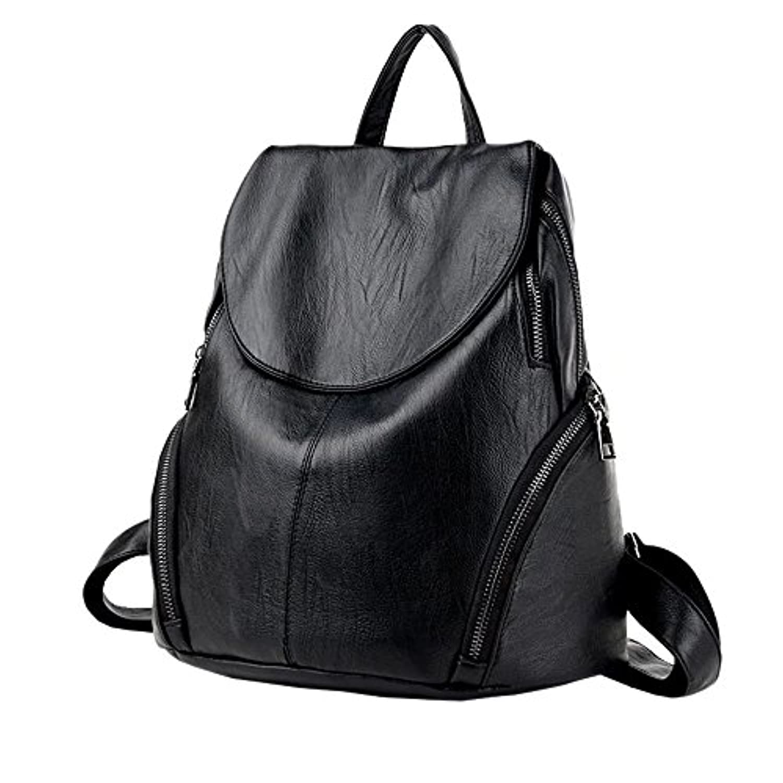 【ユウエ】リュック スクエア リュックサック レディース PU革 大容量 ぬいぐるみ付き 撥水加工 通勤通学 高校生 黒 バッグ 鞄 デイパック 018-mgls-l-6(F ブラック )