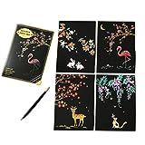 スクラッチアート MeRaPhy スクラッチ ペン セット 塗り絵 ペーパーアート ポストカード 4枚入り 全6種類 自然と動物(Beautiful Nature)