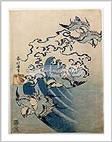葛飾北斎 Waves and Birds 約 30 x 40 cm ジクレープリント輸入イギリス