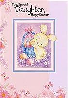 Bunny Putting Eggs inバスケット:娘–Designer Greetings Juvenileイースターカード