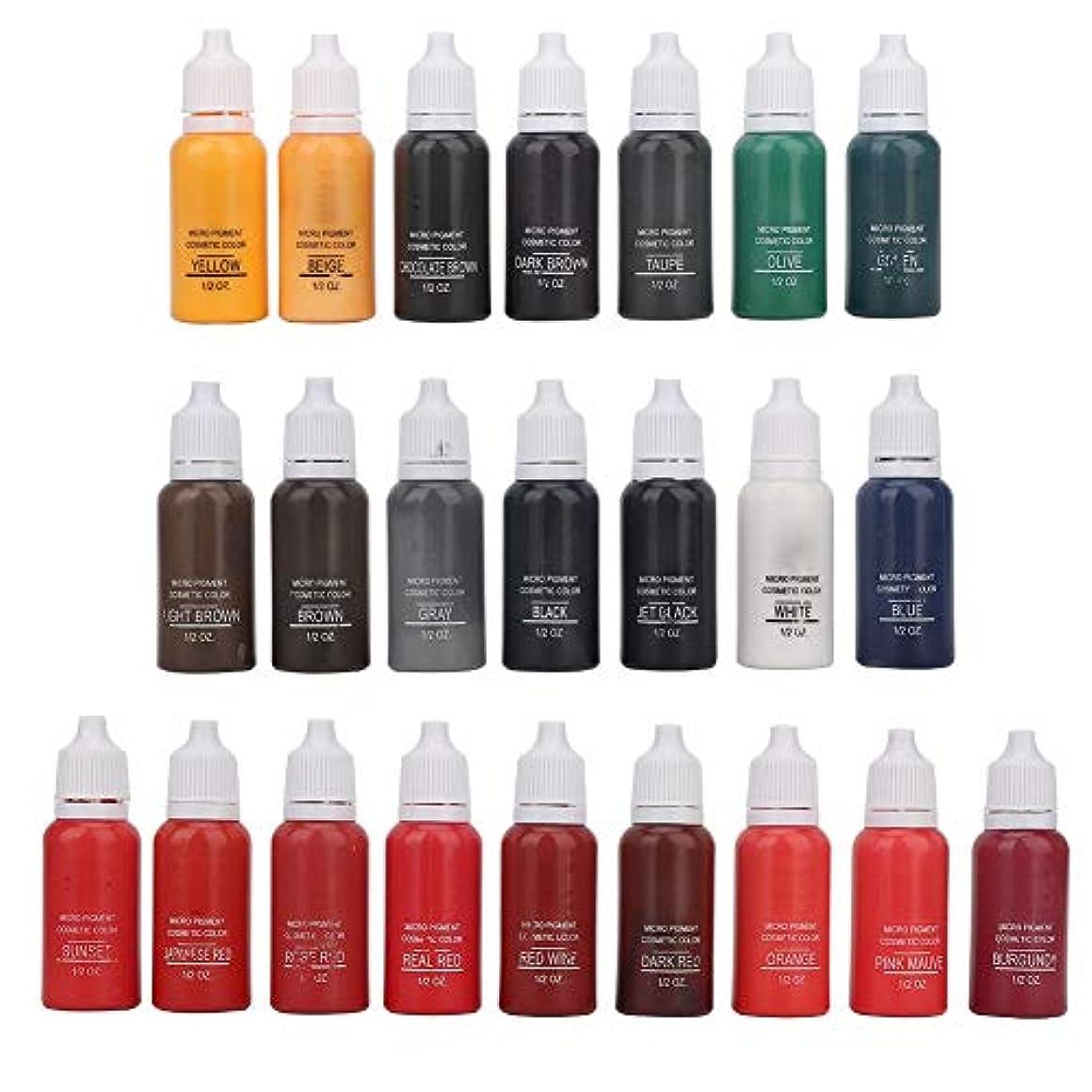 アルミニウム空白悔い改める23色のタトゥーインクセット、23 x 15mlボディカラーアイブロウメイクアップタトゥーインク、色が均等に長続きする鮮やかで明るい、リップアイブロウタトゥー顔料インク長持ちするタトゥーインクアクセサリー