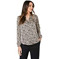 French Connection Women's Animal Print Button UP Shirt, Camel/Multi