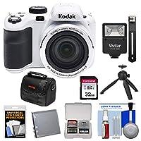 Kodak PixPro az421Astro Zoomデジタルカメラ(ホワイト) with 32GBカード+バッテリー+ケース+フラッシュ+三脚+キット