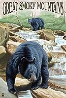 ブラックBears釣り–Great Smoky Mountains 16 x 24 Signed Art Print LANT-42565-709