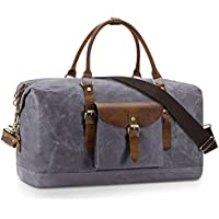 Plambag Oversized Duffel Bag, Water-Repellent Canvas Leather Trim Overnight Luggage Bag