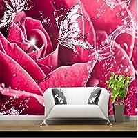 Wuyyii 大カスタム壁紙水バラ蝶愛愛甘い3Dリビングルームの寝室の背景の壁-350X250Cm