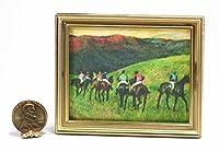 ドールハウスミニチュア1: 12スケールの印刷アートワークを有名Equestrian Painting inゴールドフレームby Degas