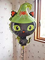 ヘリウムガス入り バルーン 黒猫 ブラックキャット ネコ 特大風船 ハロウィンバルーン パーティ装飾 ヘリウムバルーン ウィッチ・ブラックキャット (ブラックキャットヘリウムバルーン+ハロウィンお菓子ボックス付き)