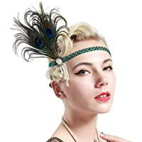 BABEYOND Vintage 1920s Flapper Headband Roaring 20s Great Gatsby Headpiece with Feather 1920s Flapper Gatsby Hair Accessories