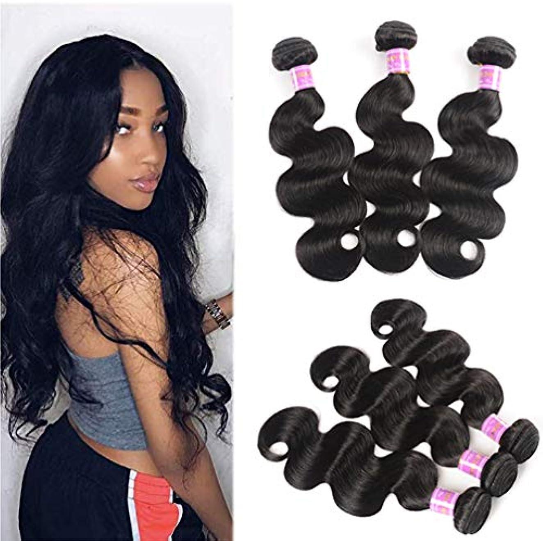 協力抑制する治すブラジルの人間の髪の束と閉鎖9A 3バンドルボディウェーブバンドル100%未処理のバージンの人間の髪の束