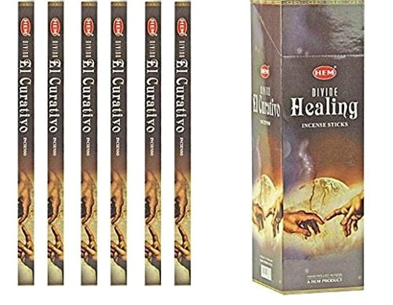 担当者スペルヘロインインドHem Divine Healing Incense 6パックX 8スティック、Wicca Pagan 8 Gm正方形ボックス