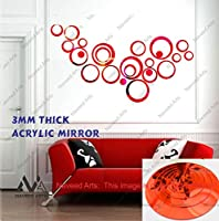 Naveed Arts - 3D Acrylic Mirror Wall Décor Stickers for Home & Office - Red, 24 Ring + 6 Free Rings - JB062S4RM - Factory Outlet