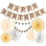 Happy Birthday バナー 黄麻布 誕生日ケーキトッパー 素朴なジュート 誕生日バナー ヴィンテージ ハッピーバースデー バナー 誕生日パーティーデコレーション バナー 手作り アイボリー ペナントフラッグ バン