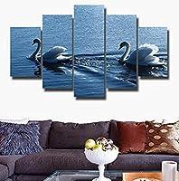 Hnyyj モジュラー絵画キャンバスHd印刷壁アート子供の部屋の装飾烏来絵画白鳥水泳湖風景現代フォトフレーム-30x50cmx2 30x70cmx2 30x80cmx1