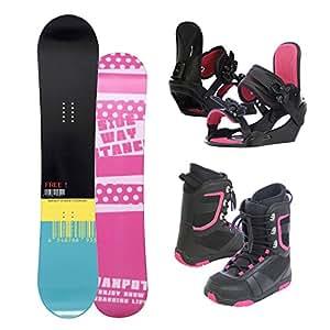 VAXPOT(バックスポット) スノーボード3点セット ブーツ ビンディング【キャンバーボード シューレースタイプ】 板:シンプル/140cm 24.5cm