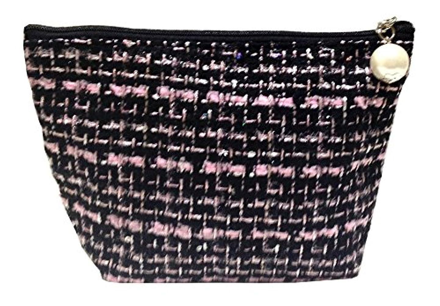こどもの日気候非効率的な化粧ポーチ 編み柄B BKxピンク【9071】