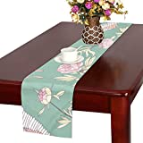 LKCDNG テーブルランナー カラフル すてき 和風のつる クロス 食卓カバー 麻綿製 欧米 おしゃれ 16 Inch X 72 Inch (40cm X 182cm) キッチン ダイニング ホーム デコレーション モダン リビング 洗える