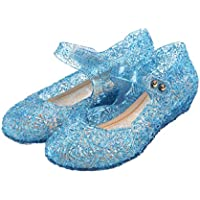 GUGUYeah Frozen Inspired Elsa Costumes Flats Shoes, Snow Queen Princess Birthday Sandals for Little Girls, Toddler or Kids