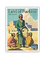 プエブロニューメキシコ州の土地 - サンタフェ鉄道 - プエブロインディアン - ビンテージな鉄道旅行のポスター c.1950s - アートポスター - 23cm x 31cm