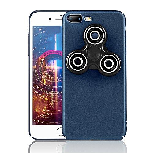 HAOCOOハンドスピナー iPhone 7 Plusケース Hand spinner iPhone Case 衝撃吸収バンパー 擦り傷防止 ストレス解消 アイフォン 7 Plus用のハンドスピナーコンボケース (iPhone 7 Plus, ブルー)