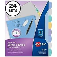 Avery Bigタブ書き込み&消去耐久性プラスチックディバイダー、8マルチカラータブ、ケースパックof 24(16171)