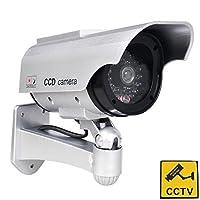 Phot-R P-DC60SP ソーラー電源屋外/屋内IR CCTVセキュリティ ミニスピード ダミー ドーム カムカメラ I 警告ステッカー付き - シルバー